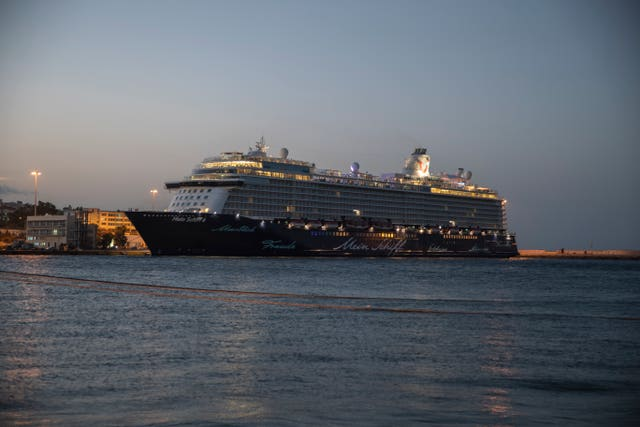 The Mein Schiff 6 cruise ship docked at Piraeus