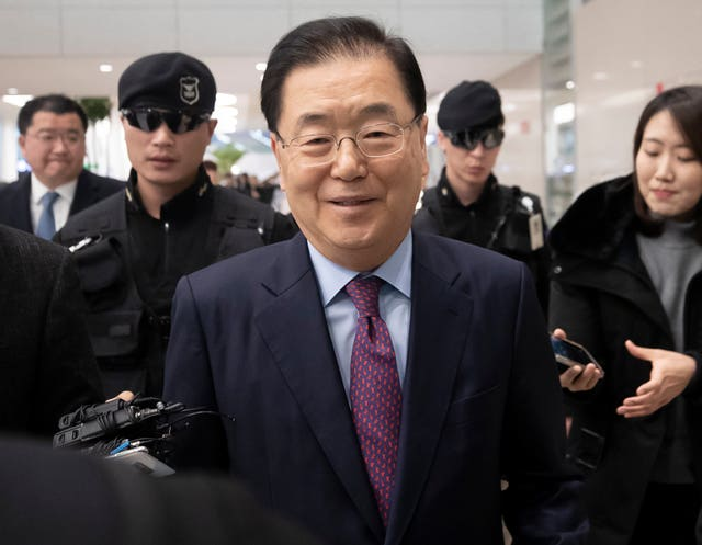 Chung Eui-yong, South Korea's presidential national security director, speaks to the media after returning from Washington at the Incheon International Airport, South Korea