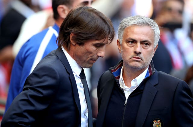Lukaku is relishing player under Conte (left) but believes Mourinho (right) could have achieved more at United with the right players