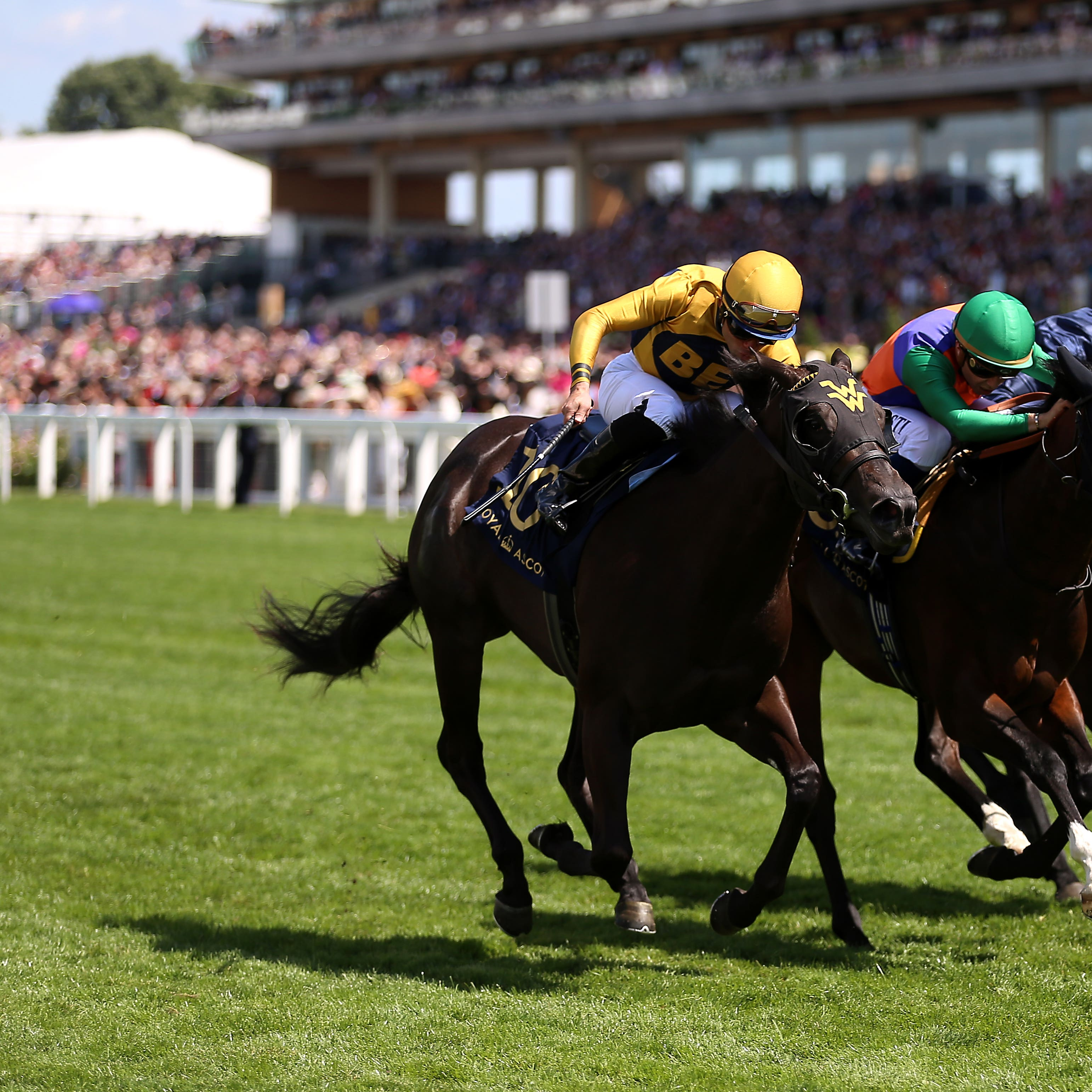 Shang Shang Shang (left) holds off Pocket Dynamo in the Norfolk Stakes