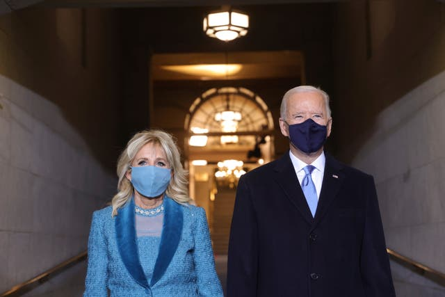 President-elect Joe Biden and Jill Biden arrive at his inauguration on the West Front of the US Capitol in Washington