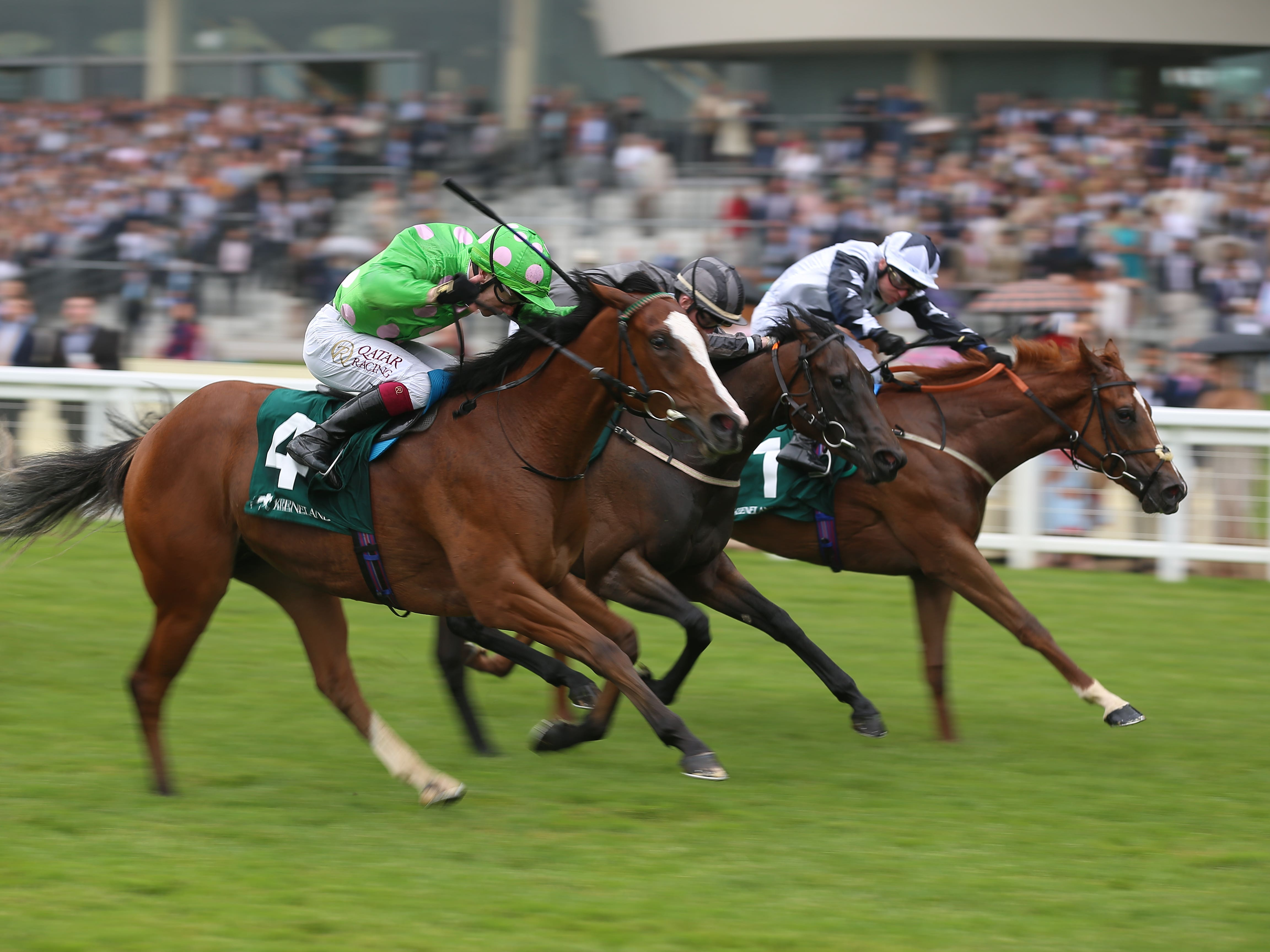 Zain Claudette (right) winning the Princess Margaret Stakes (
