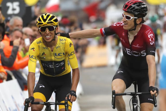 Geraint Thomas and Egan Bernal crossed the line together
