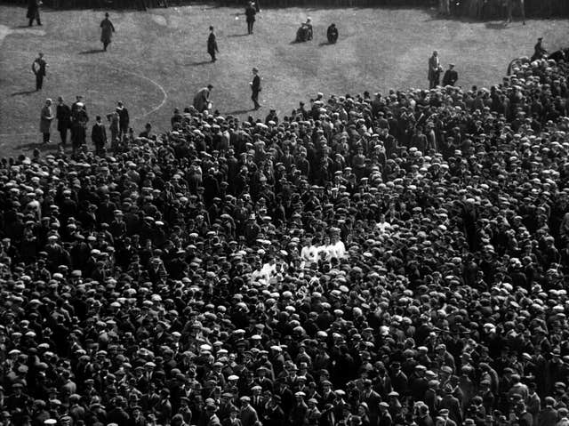 A pitch invasion at Wembley Stadium following the 1923 FA Cup final, just months after Arthur Kinnaird's death