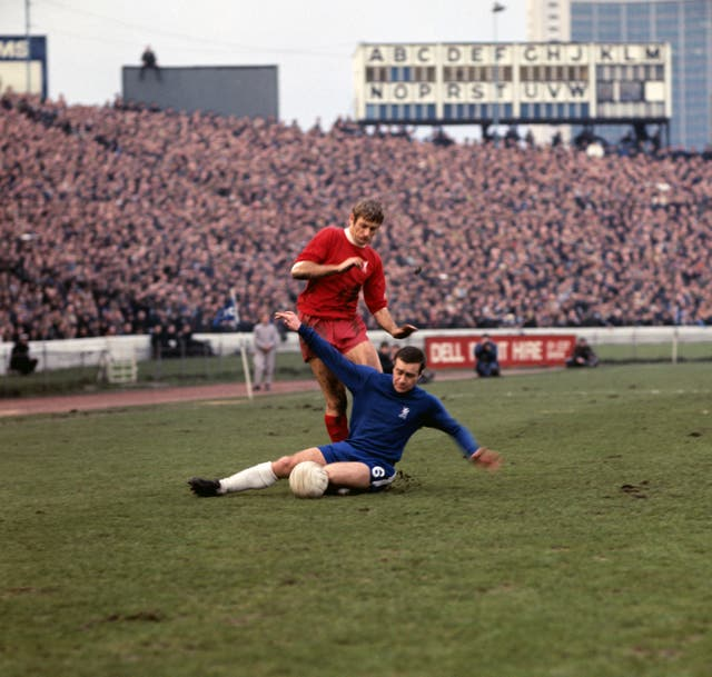 Chelsea's Ron Harris tackles Liverpool's Roger Hunt