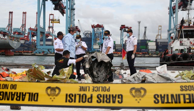 Indonesian National Transportation Safety Committee (KNKT) investigators have inspected debris
