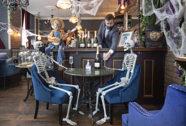 Halloween skeletons in Edinburgh restaurant