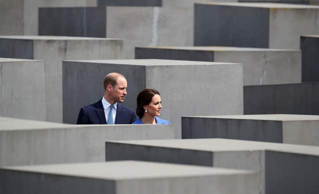 The Duke and Duchess of Cambridge during a visit to the Holocaust Memorial in Berlin (Jane Barlow/PA)