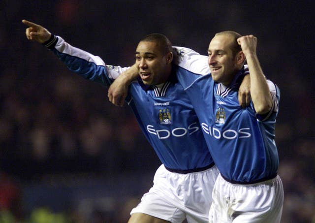 Jeff Whitley, left, during his playing days at Manchester City