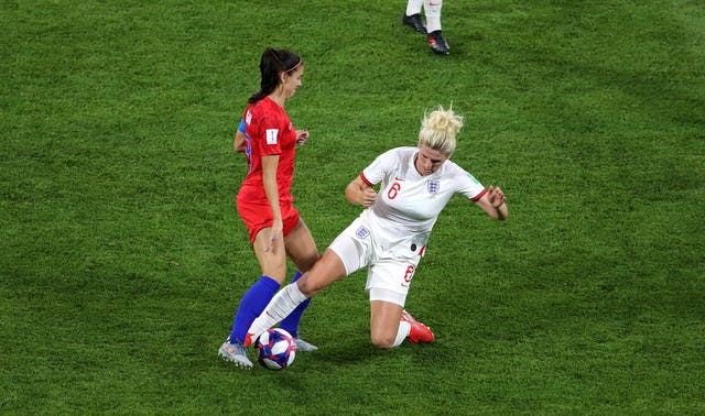 Millie Bright, right, put in a rash tackle on Morgan two minutes after the penalty miss