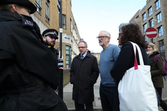 Jeremy Corbyn and Islington Council leader Richard Watts at the scene on Saturday