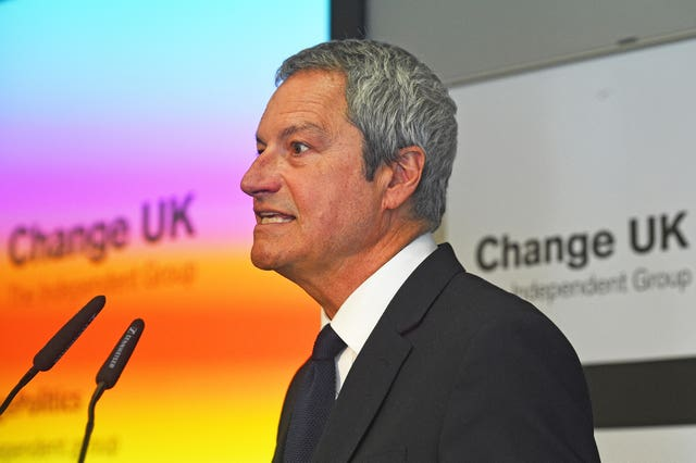 Gavin Esler speaks during a Change UK rally at Church House in Westminster, London