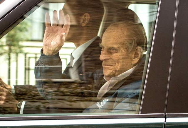 The Duke of Edinburgh leaves King Edward VII's Hospital  (Dominic Lipinski/PA)