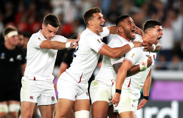 England's Ben Youngs (right) celebrates scoring a try with team-mates but it is later ruled out following a TMO decision during the 2019 Rugby World Cup Semi Final match at International Stadium Yokohama