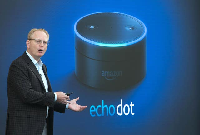 Dave Limp, Senior Vice President, Amazon Devices and Services, introduces the Amazon Echo Dot at a product launch in London.