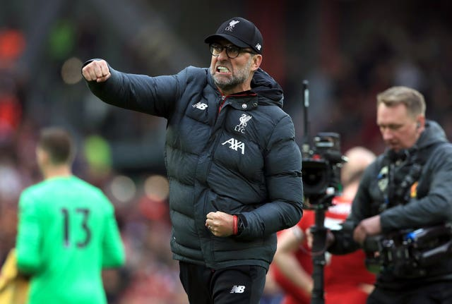 Liverpool manager Jurgen Klopp pumps his fist in celebration