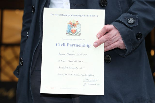 Mr Keidan holds his civil partnership certificate (Yui Mok/PA)