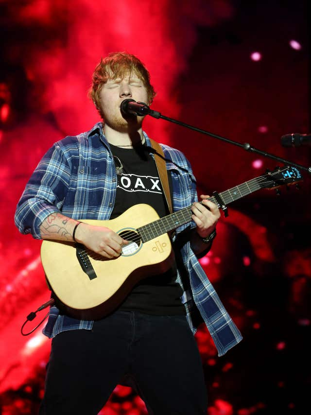 Ed Sheeran, who is among the musicians paid record royalties in 2017 (Ian West/PA)