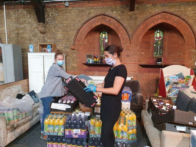 Volunteers working at a food bank in Earlsfield, south Londo