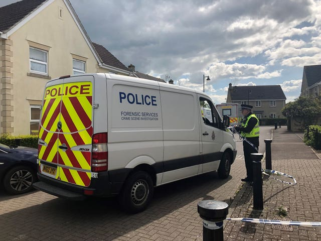 A police forensic vehicle on Springfield Drive, Calne after the murder of Ellie Gould (Claire Hayhurst/PA)