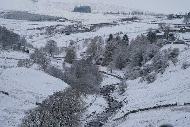 Snow covers hills near Kilhope, on the Northumberland/Durham border