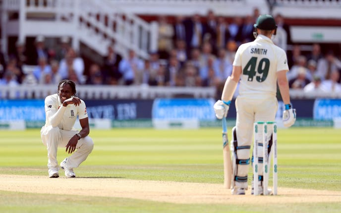 Jofra Archer, left, gave Steve Smith an uncomfortable afternoon
