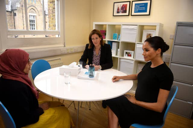 The Duchess of Sussex does interview preparation with Ruma Parvin (left) (Clodagh Kilcoyne/PA)