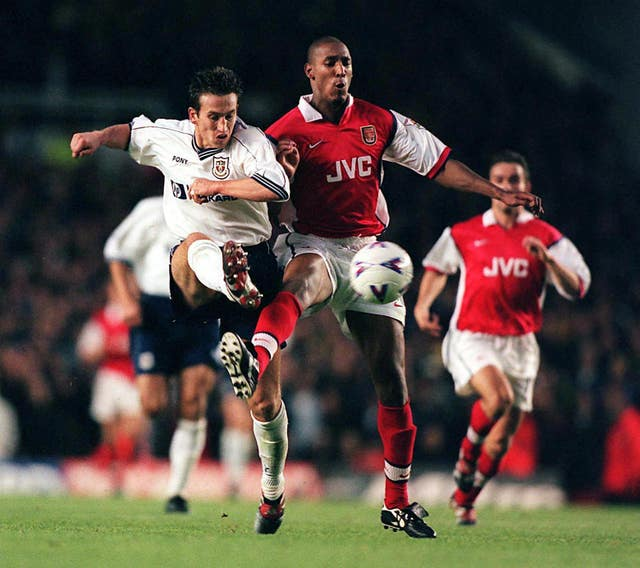 Justin Edinburgh in action for Tottenham against Arsenal in the 1990s