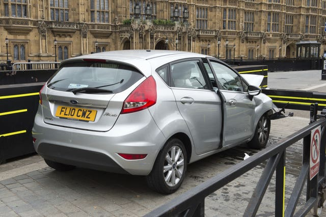 The silver Ford Fiesta after it crashed outside the Houses of Parliament