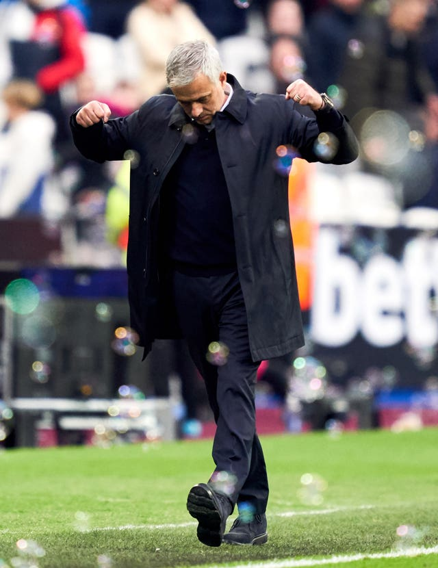 Jose Mourinho celebrates victory in his first game in charge of Spurs