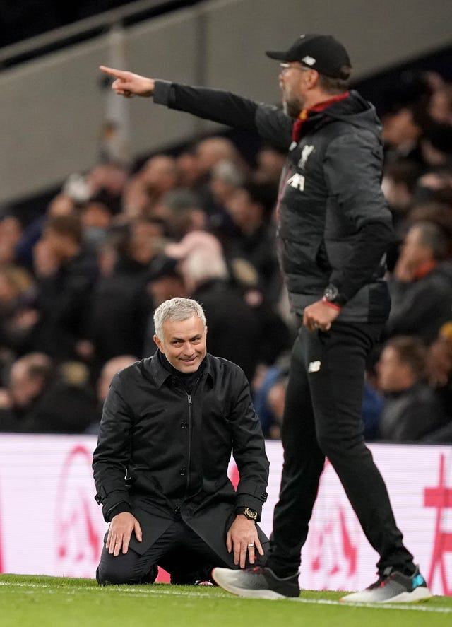 Tottenham manager Jose Mourinho sinks to his knees on the touchline during the Premier League defeat to Jurgen Klopp's Liverpool in January. Spurs were unable to halt the Reds' relentless march to the title as Roberto Firmino's first-half strike stretched the visitors' winning streak to 12 matches. The Merseyside club also made it 38 games unbeaten, a run dating back to January 3, 2019.