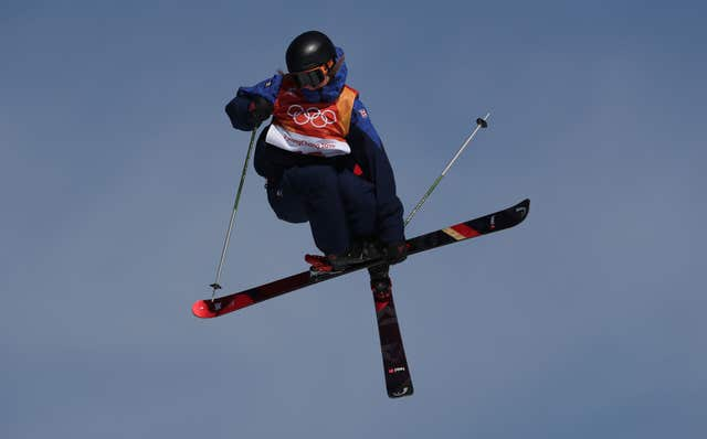 Izzy Atkin in action during the women's ski slopestyle in which she won a bronze medal for Great Britain