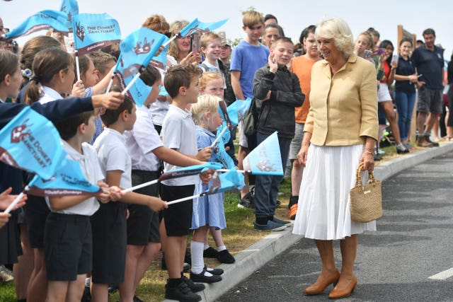 The Duchess of Cornwall meeting children from a local primary school