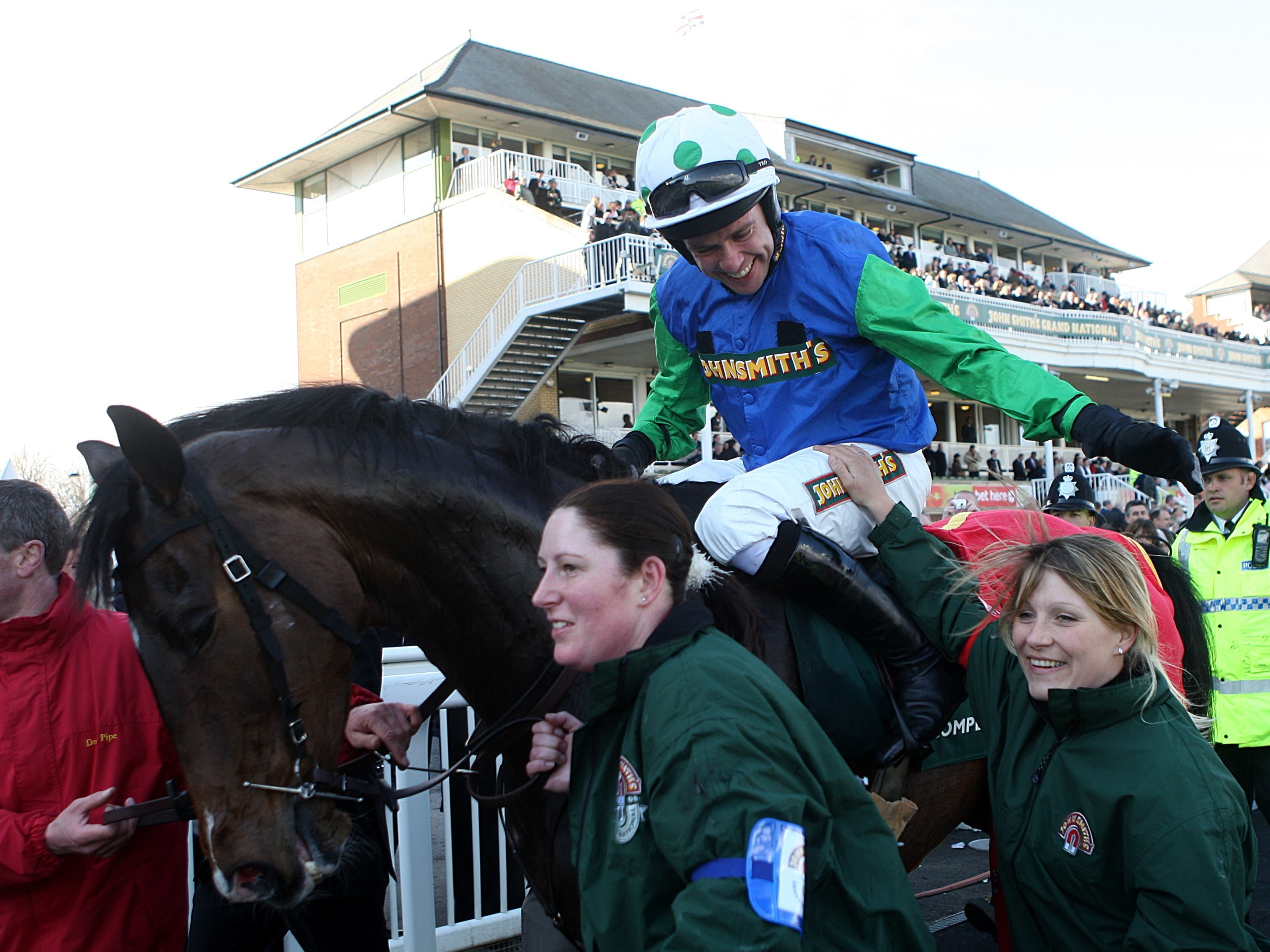 Comply Or Die and Timmy Murphy after winning the Grand National in 2008 (David Davies/PA)