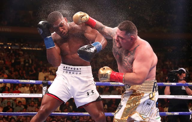 Andy Ruiz Jr, right, lands a punch on Anthony Joshua