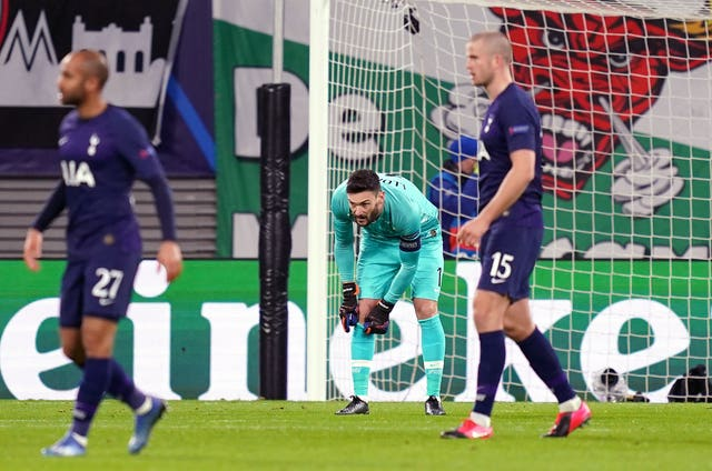 Tottenham goalkeeper Hugo Lloris (left) was culpable for the first two Leipzig goals