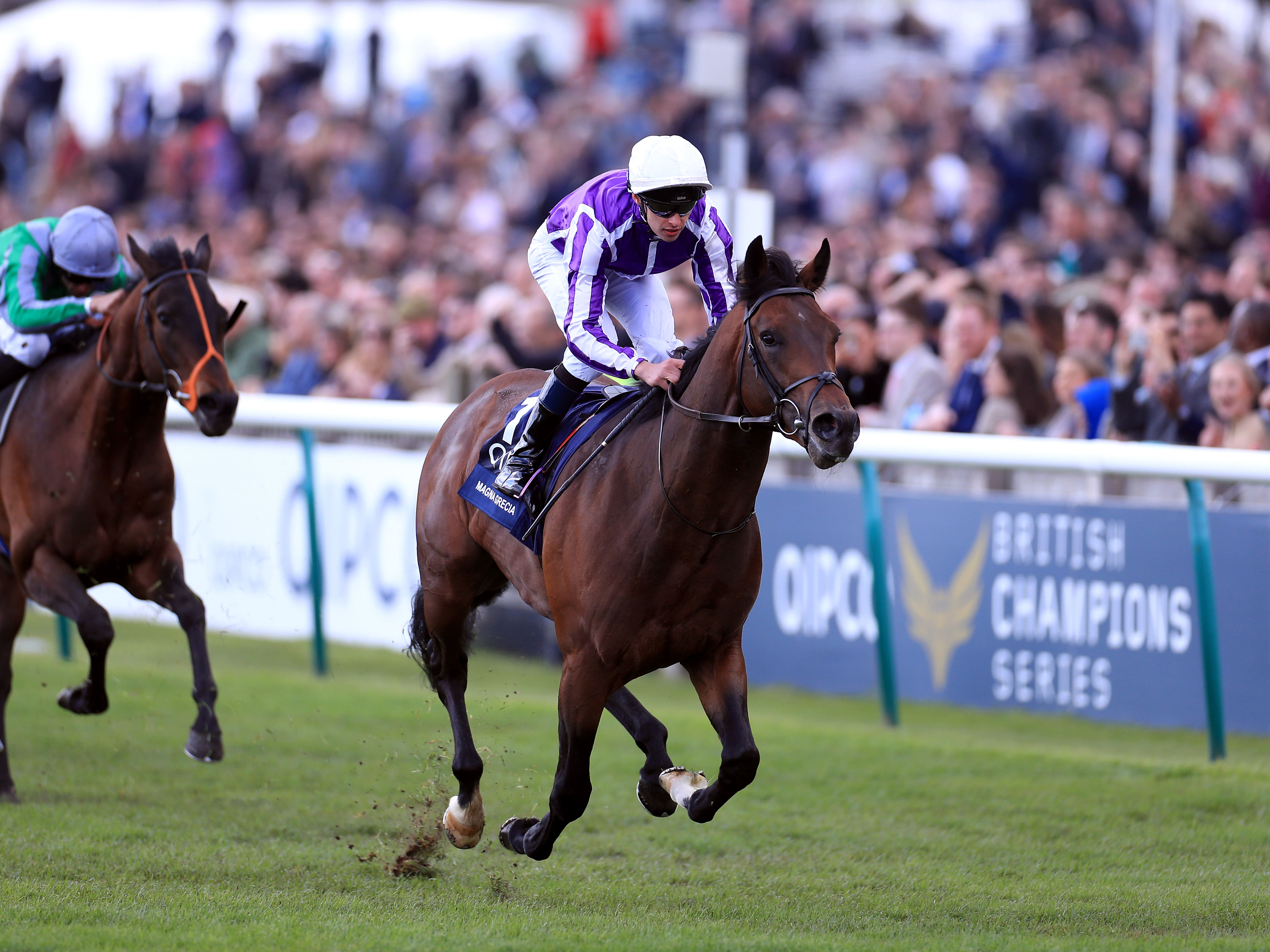Magna Grecia in winning action at Newmarket (Mike Egerton/PA)