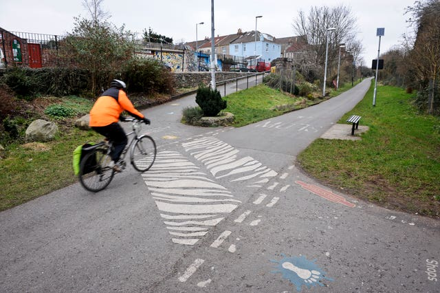Stock image of a cyclist at a zebra crossing across the Bristol & Bath railway path near Easton, Bristol (Ben Birchall/PA)