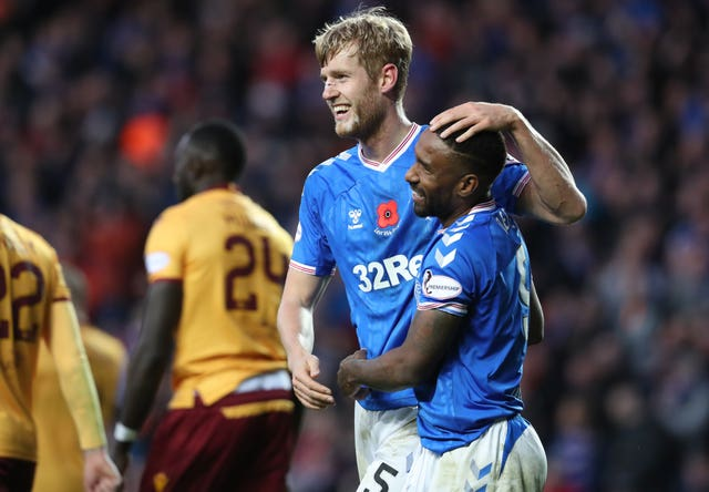 Filip Helander and Jermain Defoe both scored in Rangers' win over Motherwell
