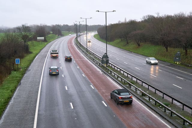 Light traffic on the M4 motorway in London (John Walton/PA)
