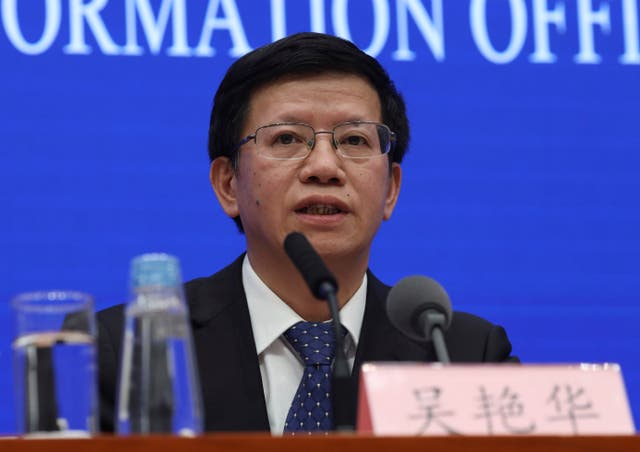 Wu Yanhua, deputy director of the national space agency, speaks during a press conference held in Beijing, China