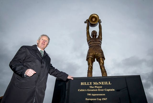 Billy McNeill next to his statue