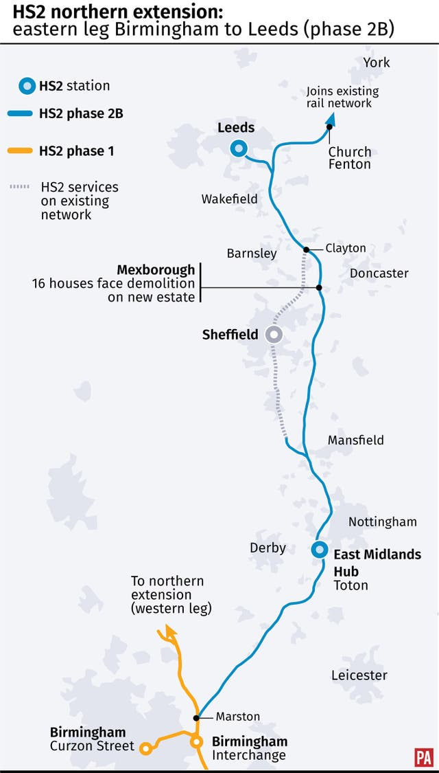 HS2 northern extension: eastern leg Birmingham to Leeds
