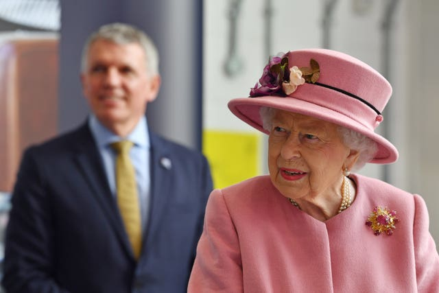 The Queen during last week's visit to the Defence Science and Technology Laboratory (DSTL) at Porton Down, Wiltshire