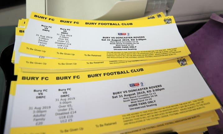 Tickets for Bury v Doncaster are ready for sale at Gigg Lane