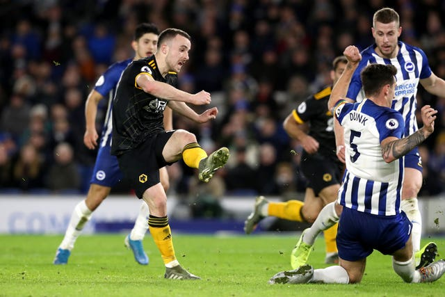 Diogo Jota scored twice as Wolves drew 2-2 at Brighton