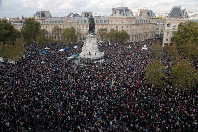 People gathered at Place de la Republique during a demonstration in Paris