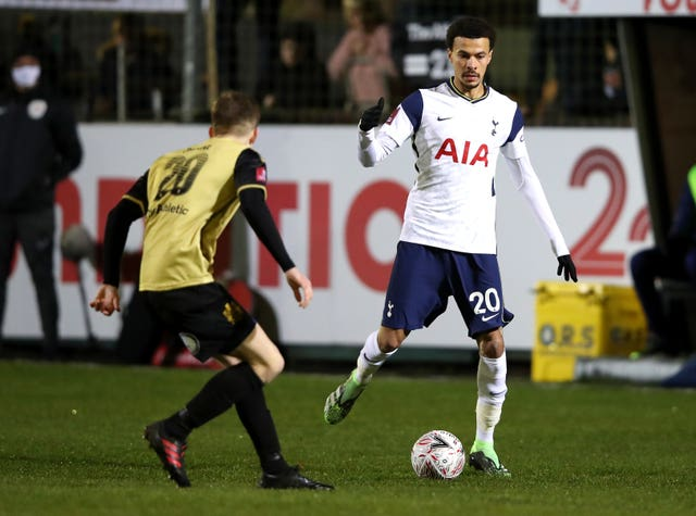 Dele Alli, right, during the FA Cup tie at Marine