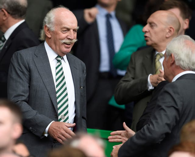 Celtic principal shareholder Dermot Desmond (left) wants Champions League football