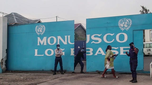 The entrance to the United Nations base